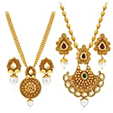 #1: Sukkhi Wavy Gold Plated Kundan Set of 2 Necklace Set Combo For Women