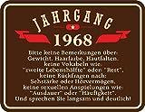 50 Jahre - Jahrgang 1968 - Blechschild mit Spruch, 4 Saugnäpfe - Blech-Schild Blech Schild Fun, Größe 22x17