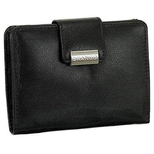 Luxus Leder Damen Geldbörse Portemonnaie Geldbeutel XXL mit Druckknopf 10 cm Farbe schwarz