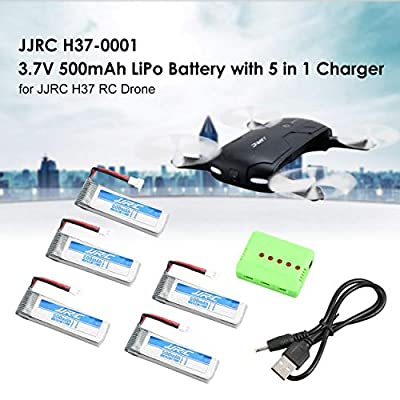 Lorenlli 5Pcs Original Fit JJR/C H37 3.7V 500mAh 20C LiPo Battery and 5 in1 Charger For H37 D5 GoolRC T37 Eachine E50 Drone RC Quadcopter