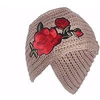OSISDFWA Dama De La Moda Otoño - Invierno De Punto Sombrero De Lana Lana  Flor Cuerpo 78422a9499e