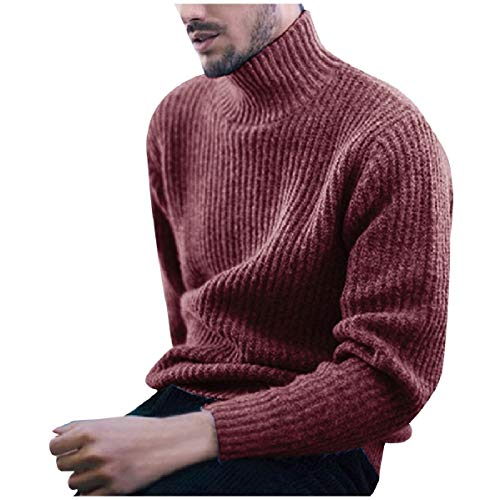 CuteRose Men's Slim Tailoring Ribbed Casual Leisure Thermal Sweatshirt Red 2XL - Ribbed Knit Striped Sweater