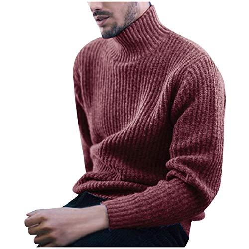 CuteRose Men's Slim Tailoring Ribbed Casual Leisure Thermal Sweatshirt Red 2XL -