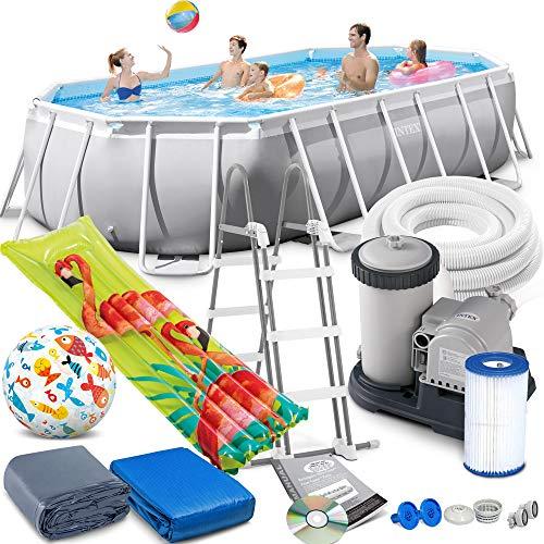 Intex Prism Frame Oval Swimming Pool 503x274x122 cm Schwimmbecken Leiter & Pumpe 26796 Komplett-Set mit Extra-Zubehör wie: Strandball und Luftmatratze