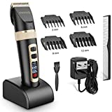 Hair Clippers for Men, ETEREAUTY Professional Cordless Hair Trimmer Rechargeable Hair Cutting Kit Machine with Titanium Ceramic Blade, LED Display, 3 Adjustable Speeds Beard Trimmers for Men Kids