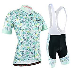 Women's Cycling Jersey, Cycling Clothing Set with Bib Shorts 3D Padded Pants for Outdoor Sports Bicycle Cycling. Blue and White, M