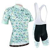 Maillot Ciclismo Mujer, Ciclismo Conjunto de Ropa con Culotte Pantalones Acolchado 3D para Deportes al Aire Libre Ciclo Bicicleta. Azul y Blanco, M