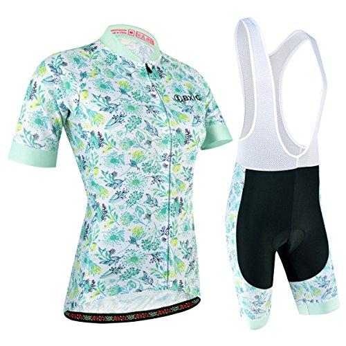 Radtrikot Set Damen Kurz, Atmungsaktiv Radsportanzug mit Radhose mit 3D Sitzpolster für Fahrrad Rennrad, Blau und Weiß, M