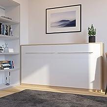 Cama plegable de 90cm horizontal color roble sonoma/blanco cama plegable & cama de pared SMARTBett sin colchón