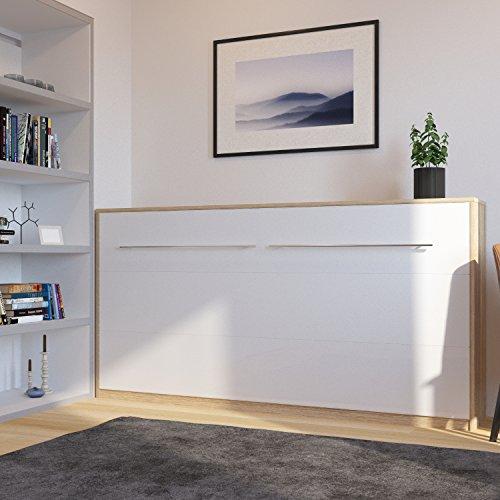 Schrankbett 90cm Horizontal Eiche Sonoma/ mit Weißer Front SMARTBett Ohne Matratze, ideal als Gästebett - Wandbett, Schrank mit integriertem Klappbett, SMARTBett, Sideboard