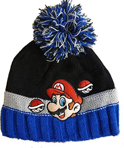 Coole-Fun-T-Shirts Super Mario Mütze Kinder Original Pudelmütze Wintermütze Jungen Strickmütze blau Gr. 52 und 54 cm (52)
