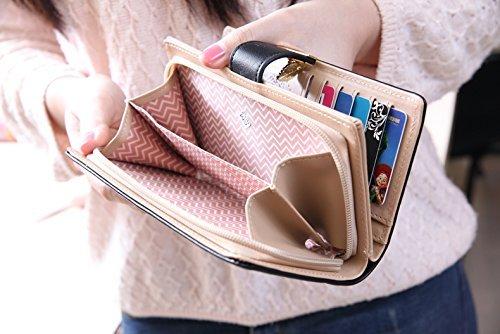 Elegent Donne Borsa Foglia in Pelle IHRKleid® Portafoglio Wallet Credit Card Holder (beige) beige