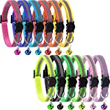 GingerUP Cat Collar Cat Breakaway Collars Set 12 PCS with Bell Reflective Strap & Safety Buckle, Adjustable 8-12