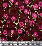 Soimoi Rot Viskose Chiffon Stoff Blätter & Blumen Clip Art