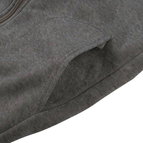 ZANZEA Femme Automne Hiver Hoodie Fleece à Capuche Coats Manteau Outerwear Gris foncé 2