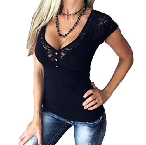 Damen Sexy V-Ausschnitt T-Shirt Mit Spitze (T-shirt Mädchen Spitze)