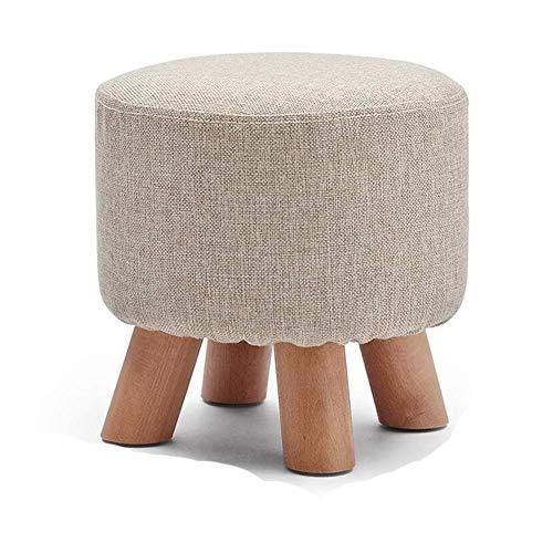 YZjk Hocker Fußhocker Arbeitshocker Beauty Roller Hocker Bambus Hocker Massivholz Leinen Small Short Sofa Dressing Round Waschbar (Farbe: Grau, Größe: 4)
