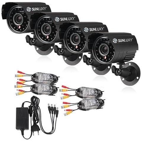 SUNLUXY® Kit 4PCS CCTV Cámara de vigilancia bala 420TVL CMOS IR 24 LED Outdoor Videovigilancia Sistema de Seguridad Exterior para el Hogar negocio