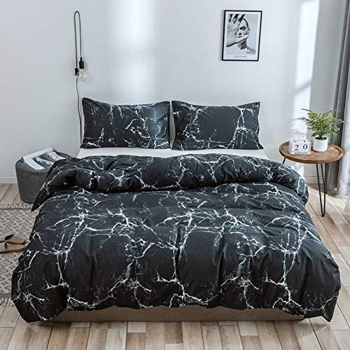 Guoyixiang Home Bettwäsche Marmor Schwarz 135x200 2 Teilig Marmor Stein Korn Muster Bedruckt Design mit Reißverschluss (Schwarz Weiß, Einzelbett) -