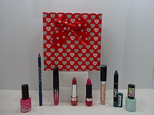 Rimmel London Maquillage Beauté Ensemble de cadeau de Saint-Valentin Emballé avec ruban rouge, 8 pièces