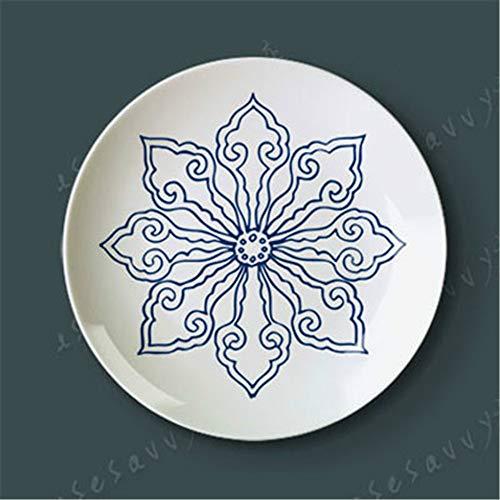 PORCN 12Inch der blauen und weißen Porzellanschale Keramikplatte dekorative schwingende Scheibe hängende Wand hockt Bodenplatte Fornasetti, c