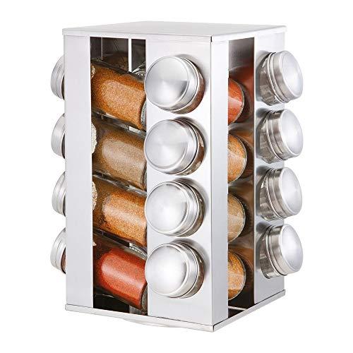 16pezzi in acciaio inox da cucina portaspezie girevole set & barattoli di vetro