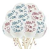 Oblique Unique® 10x Luftballons He Or She? für Baby Shower Party Deko Feier zur Geburt - Weiß
