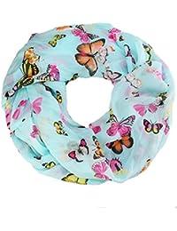 caripe Damen Loop-Schal Halstuch Schlauchschal Mode-Accessoire Schmetterling