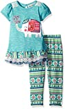 Rare Editions Girls' Little Heathered Top W Elephant Applique and Printed Legging Set, Teal, 6