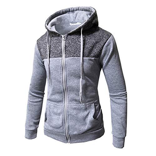 Crazboy Herren Herbst Winter Kapuzenpullover Sweatershirt Beiläufig Mode Pure Farbe Lange Ärmel Pullover Tops(Large,Grau-C)