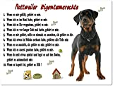 Merchandise for Fans Blechschild/Warnschild / Türschild - Aluminium - 15x20cm Eigentumsrechte Motiv: Rottweiler (02)