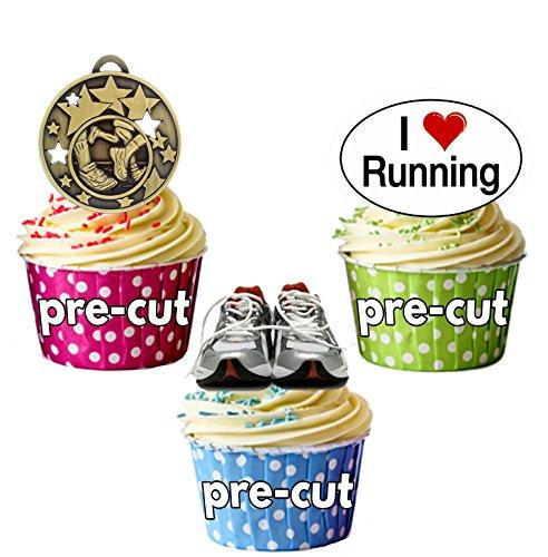 vorgeschnittenen Running Trainer und Medaille Mix–Essbare Cupcake Topper/Kuchen Dekorationen (12Stück) (Dekoration-medaille)