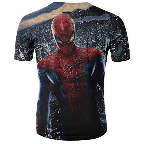 Xrwz Unisex Hombres 3D Patrón Impreso Camisetas Verano Casual Manga Corta T-Shirt Spider-Man S