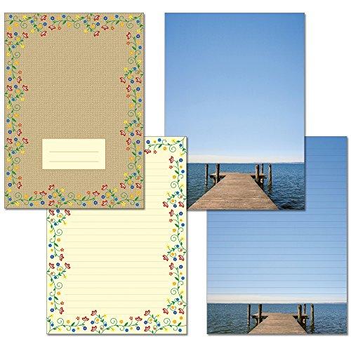 2 Stück - Schreibblöcke 1x Seeblick + 1x Blütenzauber Vintage je 25 Blatt Format DIN A4 mit Deckblatt 7220+7290