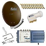 HB-Digital SET: FUBA 8 Teilnehmer Digital SAT Anlage 65cm DAA650B + hochwertiger LNB 0,1dB FULL HDTV 4K + 5/8 Multischalter + 24 Vergoldete F-Stecker Gratis dazu