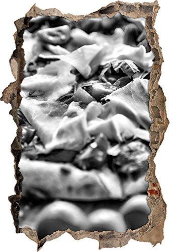 Stil.Zeit Monocrome, Leckere Pizza mit Parmaschinken Wanddurchbruch im 3D-Look, Wand- oder Türaufkleber Format: 62x42cm, Wandsticker, Wandtattoo, Wanddekoration