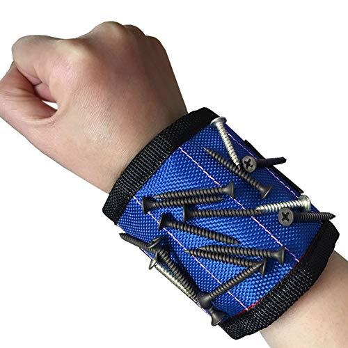 Sumtm Starke Magnete Armband für Nägel, Schrauben, Bohrer für Herren, Vater und Heimwerker blau
