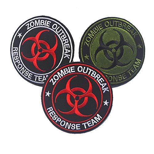 Yuqianqian DIY Kleidung Patche Sticker 3 Stück bestickte Patches Zombie Outbreak Response Team für Jeans Jacke Kleidung Handtasche Schuhe Caps (Color : Multi-Colored, Size : Free Size) (Zombie Response Kostüm)