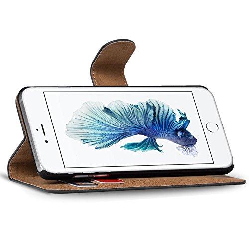 iPhone 6S, 6 Bookstyle Hülle, Conie Mobile PU Leder Schutzhülle Handytasche Bookcase Tasche Premium Klapphülle in Weiss Braun
