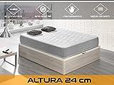 Dormi Premium Silver 24 - Colchón Viscoelástico, 90 x 190 x 24 cm, Algodón/Poliuretano, Blanco/Gris, Individual