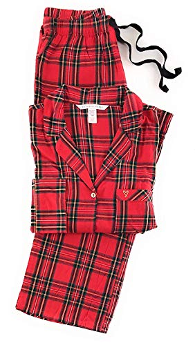 Victoria's Secret Damen-Pyjama aus leichtem Baumwollflanell - Rot - Medium - Secret Größe Victoria Medium