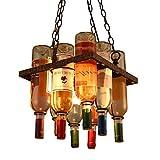 Retro E27 Kreative Leuchter Bar Wohnzimmer Antik Old-fashioned Lüster Antike Bronze Platz Typ Glas Lampenschirm Ø300 MM Bunte Wein Flasche Pendellampe Hoch Einstellbar Hängelampe 220V