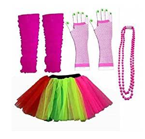 Four Piece Adult Womens 8-14 Multi Colour Rainbow Tutu Set Tutu Legwarmers Fishnet Gloves Beads 80s Fancy Dress Costume