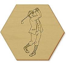 6 x 'Golfschwung' Sechseck Hölzerne Untersetzer (CR00074084)