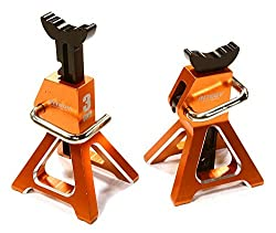 Integy Rc Hobby C26410 Orange Realistic Model 3 Ton Jack Stands (2) For 1/10, 1/8 Scale & Rock Crawler