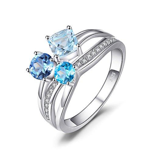 JewelryPalace 1.7ct Echt Mehrfarbig Schweiz Blau Topas 3 Steine Ring Damen-Ring 925 Sterling Silber