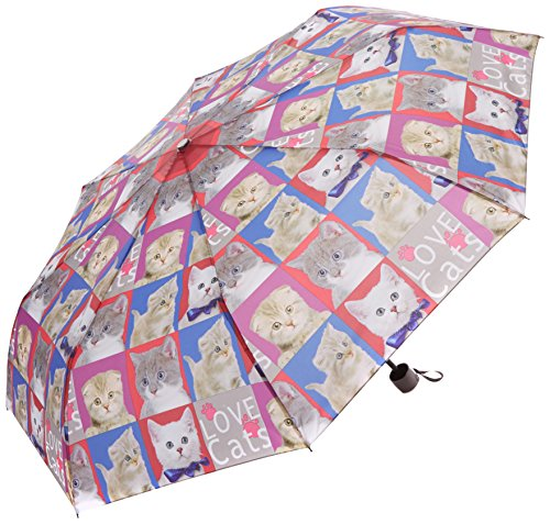 PERLETTI perletti2590254x 8cm Lady Mini 3Secciones Gatos y Perros 1Impreso Paraguas a Prueba de Viento