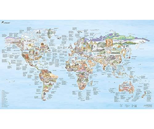 Climbing Map   Kletter-Weltkarte, illustrierte Land-Karte mit den besten Klettergebieten, Routen & Crags der Welt. Poster f. Kletterer, von Sport-Klettern bis Bouldern, wieder-beschreibbar, 97,5x56 cm