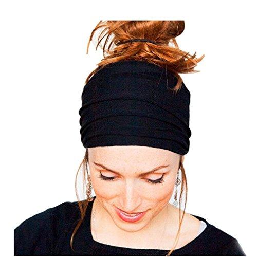 HENGSONG Damen Mädchen Makeup Sport Yoga Stirnband Haar Wrap Elastische Haarband (Schwarz)