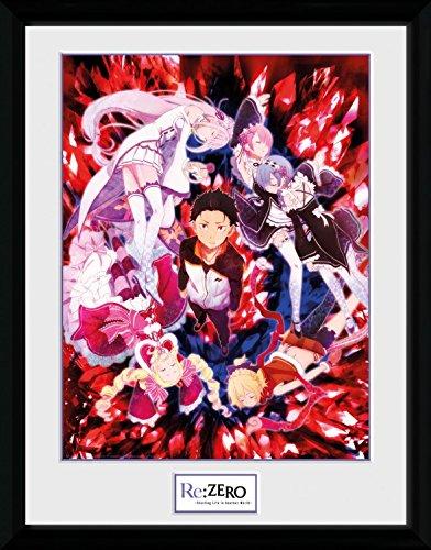 Preisvergleich Produktbild 1art1 106830 Re:Zero Anime Kara Hajimeru Isekai Seikatsu - Key Art Gerahmtes Poster Für Fans Und Sammler 40 x 30 cm